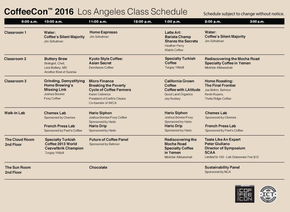 class schedule LA web 2016 012816 Labs & Classes