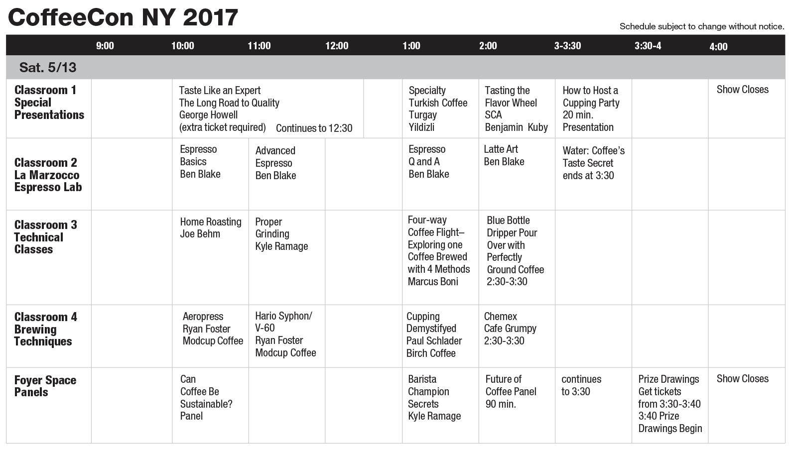 New York 2017 Class Schedule
