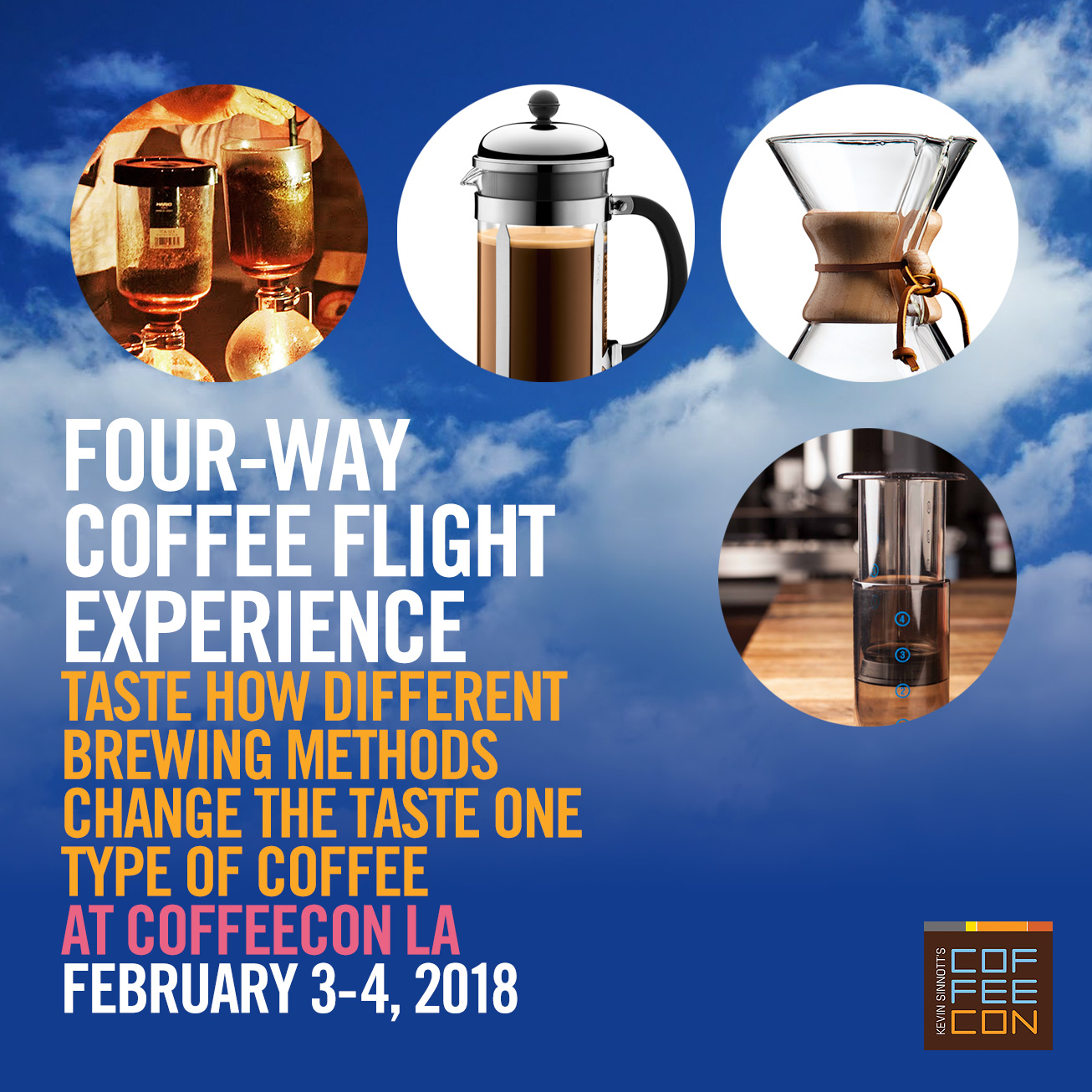 Four-Way Coffee Flight - Exploring one coffee brewed with four different methods at CoffeeConLA 2018